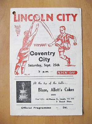 LINCOLN CITY v COVENTRY CITY 1948/1949 *Good Condition Football Programme*