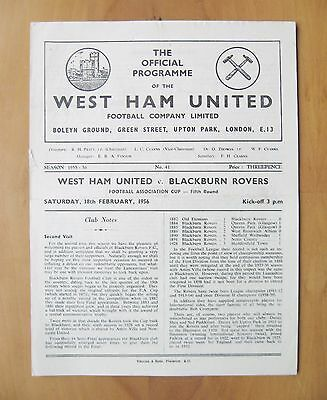 WEST HAM UNITED v BLACKBURN ROVERS FA Cup 1955/1956 *VG Cond Football Programme*