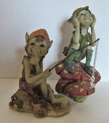 Pair of Highly Detailed Polychrome? Resin Pixies by Anthony Fishar Of The UK