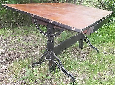 RARE Antique Hamilton Adj. Industrial Drafting Table Cast Iron & Wood W/ Drawer