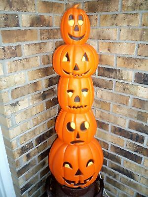 "Vtg Halloween Blowmold Union Don Featherstone Pumpkin Stack  35"" Totem Pole"