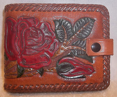 Vintage Hand Tooled Leather Womans Wallet Roses & Leaves Braided Edge EXLNT