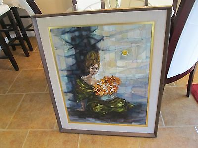 Large Abstract  Oil Original Painting Portrait on Canvas Signed MIX