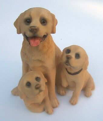 Heart Warming Resin Figurine of Mother Golden Labrador With Pups