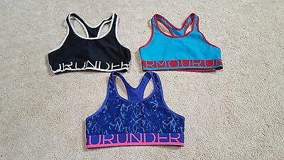 Lot of 3 - Under Armour Youth Girls HeatGear Racer Back Sports Bras, Size Large