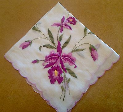 Vintage Ladies Hanky, Handkerchief, White With Purple Embroidered Flowers