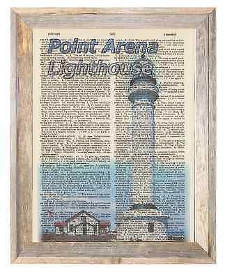 Point Arena Lighthouse California Altered Art Print Upcycled Vintage Dictionary