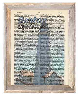 Boston Lighthouse Massachusetts Altered Art Print Upcycled Vintage Dictionary