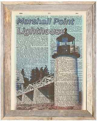 Marshall Point Lighthouse Maine Altered Art Print Upcycled Vintage Dictionary