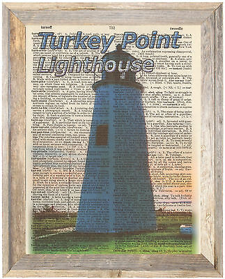 Turkey Point Lighthouse Maryland Altered Art Print Upcycled Vintage Dictionary