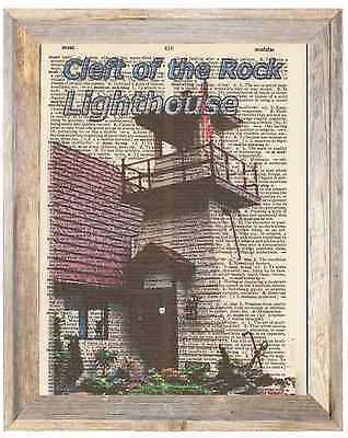Cleft of the Rock Lighthouse OR Altered Art Print Upcycled Vintage Dictionary