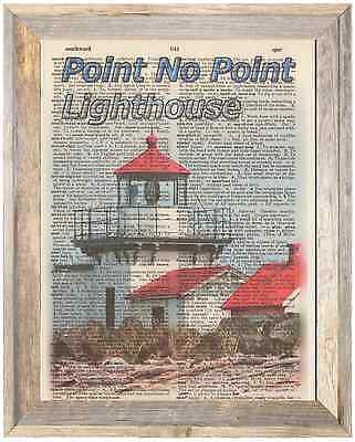 Point No Point Lighthouse Wash Altered Art Print Upcycled Vintage Dictionary