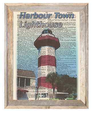 Harbour Town Lighthouse HiltonHead Altered Art Print Upcycled Vintage Dictionary