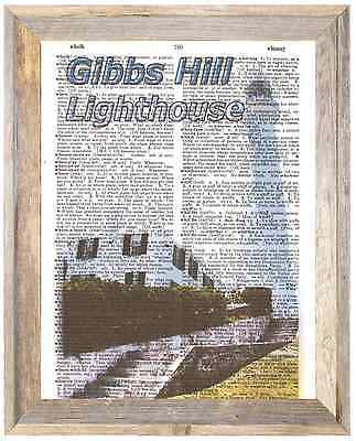 Gibbs Hill Lighthouse Bermuda Altered Art Print Upcycled Vintage Dictionary Page