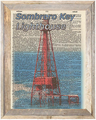 Sombrero Key Lighthouse Florida Altered Art Print Upcycled Vintage Dictionary