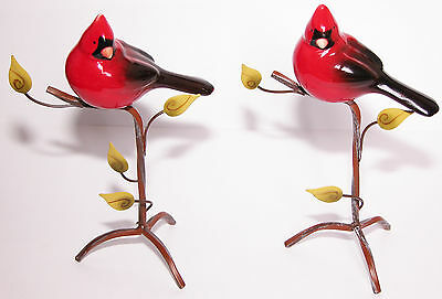 2 pc SET- CARDINALS BIRDS on BRANCHES Figurines LEAVES Metal Stand Ceramic Decor