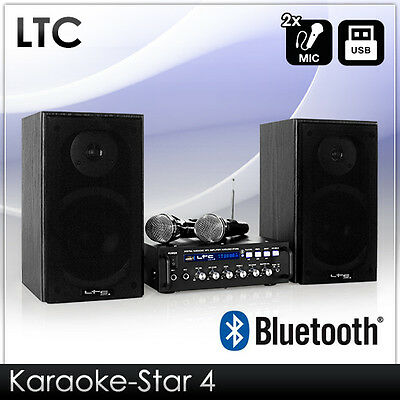Pa Karaoke Sound Anlage Verstärker Lautsprecher Mic Set Bluetooth Usb Mp3 Player