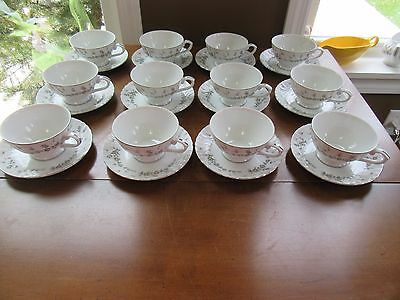 12 - Style House Fine China PICARDY CUP & SAUCER SETS  Pink/gray Platinum Rim