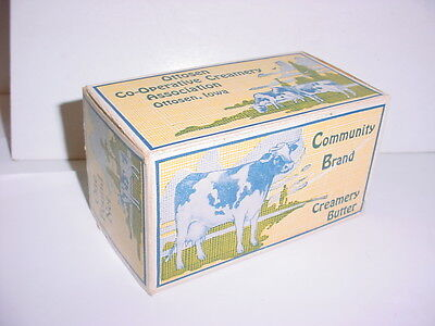 vintage Community Brand butter advertising box Ottosen Co-op Iowa cow picture