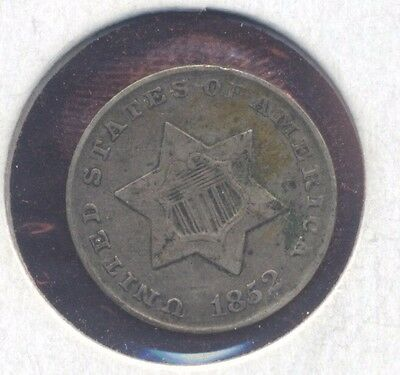 1852 SILVER 3-cent piece U.S. 3c coin. VF  (Lot#05)