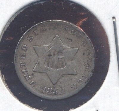 1852 SILVER 3-cent piece U.S. 3c coin. VG-F  (Lot#02)