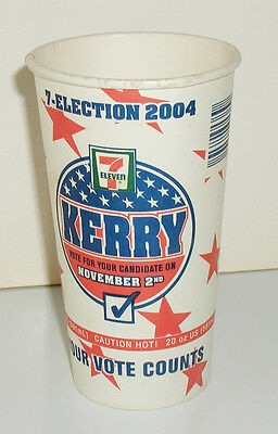 Rare 2004 John Kerry 7 Election Seven Eleven Your Vote Counts 20 Oz. Coffee Cup