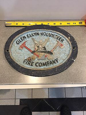 "Glen Ellyn Volunteer Fire Company Plaque. 11"" X 8"" Cast  House Plaque. Fire Dept"