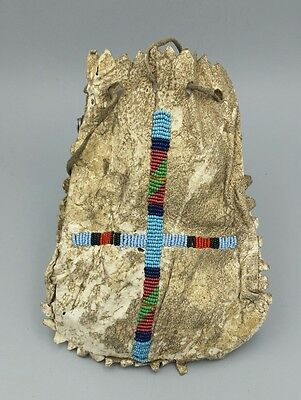19th Century Native American Large Beaded Medicine Pouch