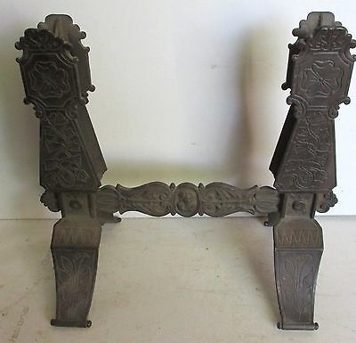 ANTIQUE VINTAGE VICTORIAN STYLE CAST IRON BASE STAND w/ LADY FACE MEDALLION
