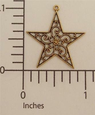 38433        3 Pc  Brass Oxidized Filigree Star Charm Finding  SALE