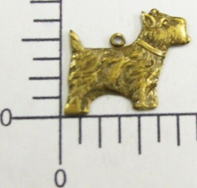 40513         6 Pc Brass Oxidized Scottish Terrier Jewelry Finding Charm  SALE