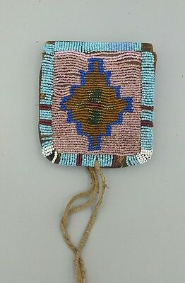 "19th Century Native American Beaded Belt Pouch, ""RARE"""