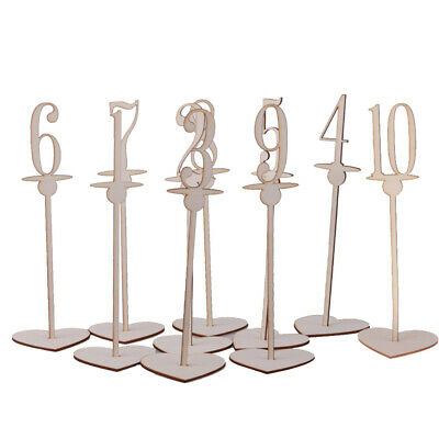 Set of 10pcs Free Standing Wooden Table Numbers with Heart Base Table Decoration