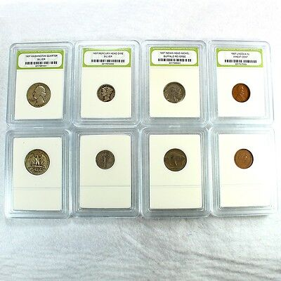 90% Silver 1937 Year Set includes Quarter, Dime, Nickel and Penny