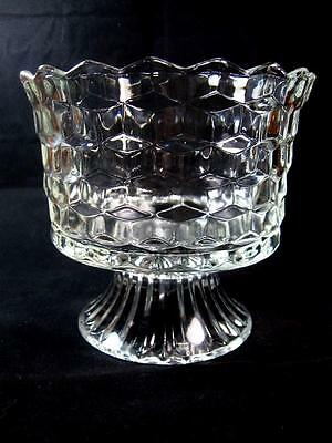 Vintage Clear Cubist Pedestal Compote Bowl Indiana Glass