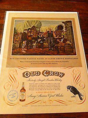 1950 Old Crow The Covered Wagons Pause Whiskey Print ad