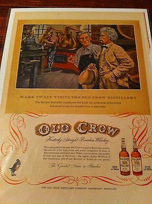 Vintage 1953 Old Crow Whiskey Mark Twain Visits Print ad