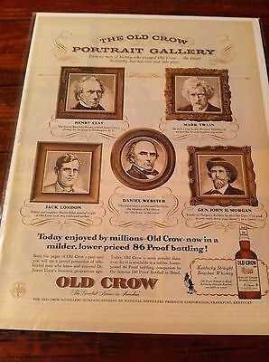 Vintage 1956 Old Crow Portrait Gallery Whiskey Print ad