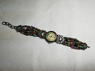 Rare Peyote Bird Watch w/ Sterling Silver / Mixed Assorted Stones