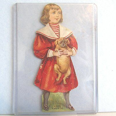 Trade Card LION COFFEE Advertising Standee DOLL Child Pug Dog Die Cut Vintage