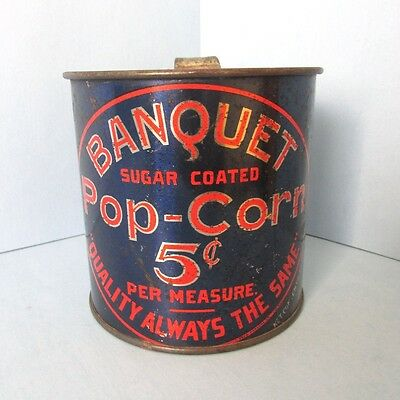 Rare Banquet POP CORN Sugar Coated Advertising Tin Cup Mug Measure
