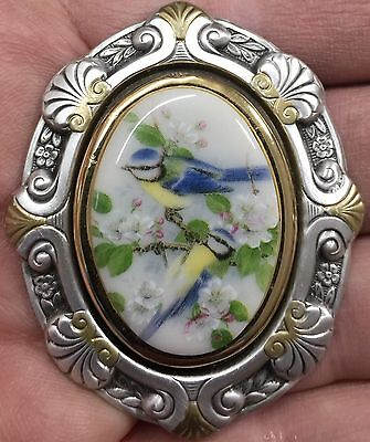 """PORCELAIN PAINTING PICTURE CAMEO PICTURE BUTTON~Stamped Brass~2 1/4"""" INCH BUTTON"""