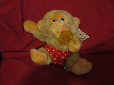 Plush Baby Chee Chee Monkey Chimp W/pacifier & Tag Vintage Russ 6""