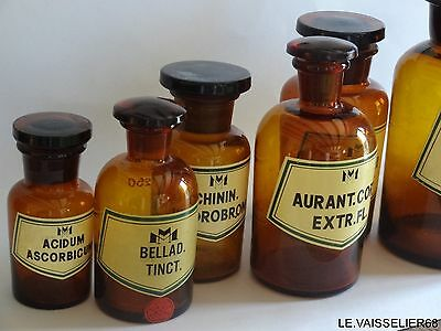 ANCIEN LOT 7 FLACONS Pharmacie Apothicaire Ambre Fiole Apothicary glass bottle