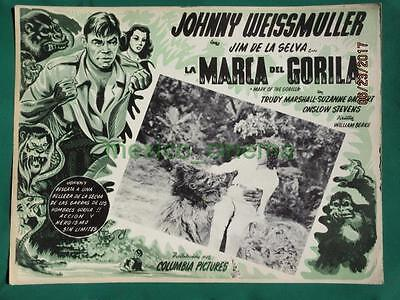 Mark Of The Gorilla Johnny Weissmuller Jungle Jim Monster Mexican Lobby Card