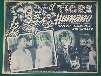 THE LADY AND THE MONSTER Horror VERA RALSTON THE TIGER MAN MEXICAN LOBBY CARD