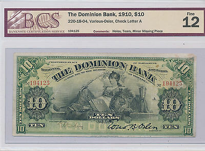 The Dominion Bank 1910 $10 F-12