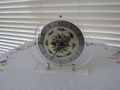 English Wind-Up Clock With Petit-Point Face In Perspex Mount - Working