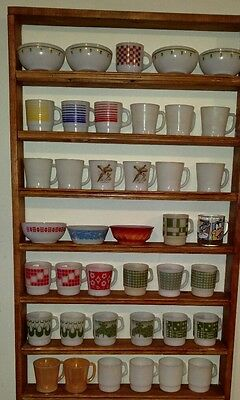 BIG LOT 40 Fire King Mugs & Bowls Loops Dominoes Squares Peach Luster Flowers
