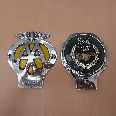 2 Vintage Classic Car Chrome Badges - Aa And S & K Flying Club